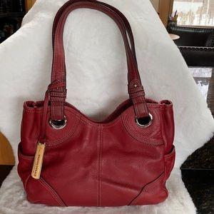 Tignanello Pebble Leather Red Shoulder Bag VGUC